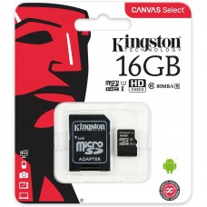 Карта памяти microSDHC 16Gb Kingston Canvas Select Class 10 UHS-I U1 + адаптер (SDCS/16GB)
