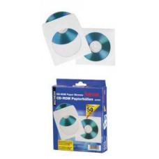 Конверт бумажный для CD дисков, прозрачное окно, 50шт. в упаковке (H-49994)